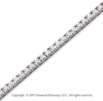 14k White Gold Fun Side 4.10 Carat Diamond Tennis Bracelet