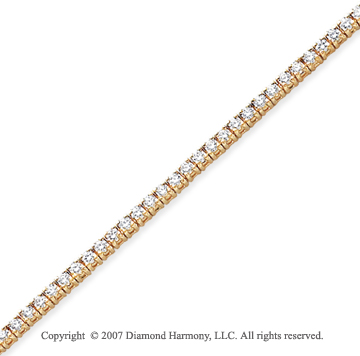 14k Yellow Gold Side Box 3.00Ct Diamond Tennis Bracelet