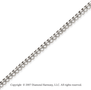 14k White Gold Basket 1.00 Carat Diamond Tennis Bracelet