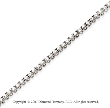 14k White Gold Basket 2 1/5 Carat Diamond Tennis Bracelet