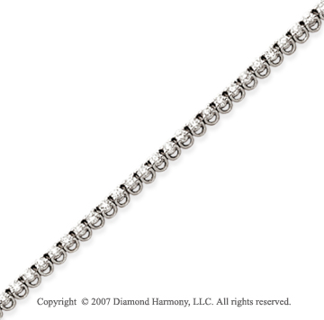 14k White Gold Basket 2 4/5 Carat Diamond Tennis Bracelet