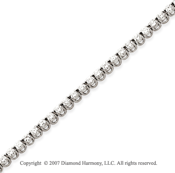 14k White Gold Basket 3.95 Carat Diamond Tennis Bracelet