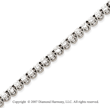 14k White Gold Basket 4.60 Carat Diamond Tennis Bracelet