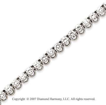 14k White Gold Basket 5 1/2 Carat Diamond Tennis Bracelet