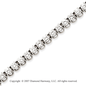 14k White Gold Basket 6 4/5Ct Diamond Tennis Bracelet