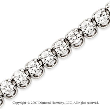 14k White Gold Basket 7 4/5 Carat Diamond Tennis Bracelet