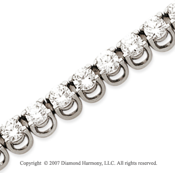 14k White Gold Basket 9 1/2 Carat Diamond Tennis Bracelet