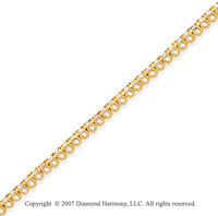 14k Yellow Gold Basket 1.00 Carat Diamond Tennis Bracelet