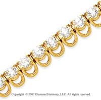 14k Yellow Gold Basket 10 1/5 Carat Diamond Tennis Bracelet