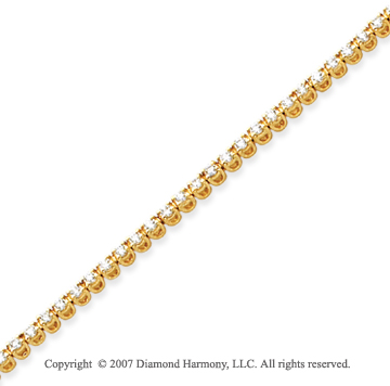 14k Yellow Gold Basket 2 1/5 Carat Diamond Tennis Bracelet