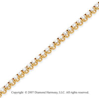 14k Yellow Gold Basket 3.95 Carat Diamond Tennis Bracelet