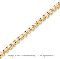 14k Yellow Gold Basket 4.60 Carat Diamond Tennis Bracelet
