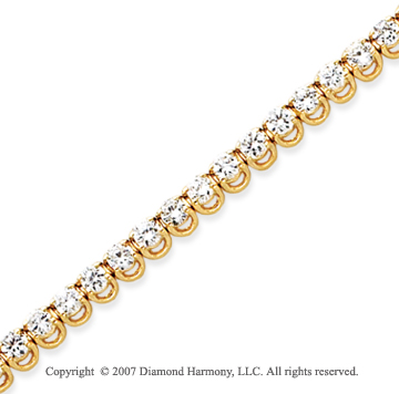 14k Yellow Gold Basket 5 1/2 Carat Diamond Tennis Bracelet