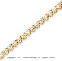 14k Yellow Gold Basket 6 4/5 Carat Diamond Tennis Bracelet