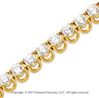 14k Yellow Gold Basket 9 1/2 Carat Diamond Tennis Bracelet