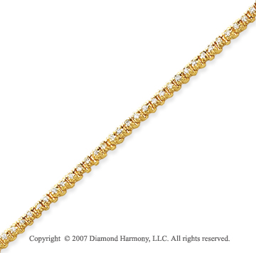 14k Yellow Gold Elegant 1.00 Carat Diamond Tennis Bracelet