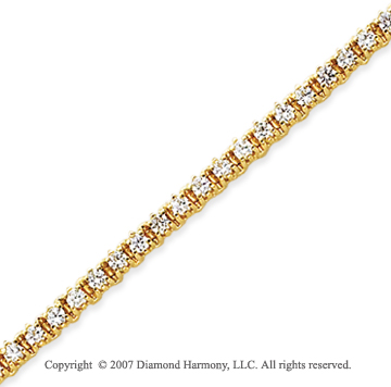 14k Yellow Gold Elegant 2.70 Carat Diamond Tennis Bracelet