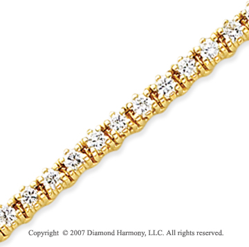 14k Yellow Gold Elegant 4.00 Carat Diamond Tennis Bracelet