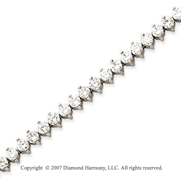 14k White Gold 2 Prong 7.00 Carat Diamond Tennis Bracelet