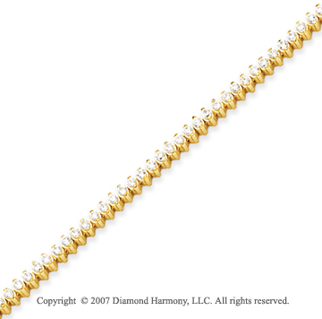 14k Yellow Gold 2 Prong 2.80 Carat Diamond Tennis Bracelet