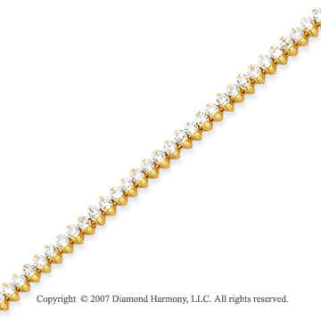 14k Yellow Gold 2 Prong 3.95 Carat Diamond Tennis Bracelet