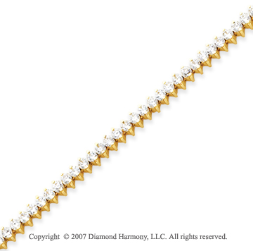 14k Yellow Gold 2 Prong 5.00 Carat Diamond Tennis Bracelet