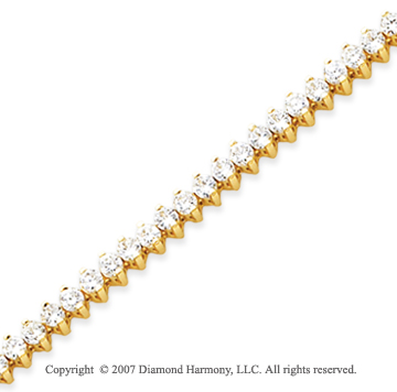 14k Yellow Gold 2 Prong 6.00 Carat Diamond Tennis Bracelet