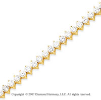 14k Yellow Gold 2 Prong 7.00 Carat Diamond Tennis Bracelet