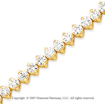 14k Yellow Gold 2 Prong 8.80 Carat Diamond Tennis Bracelet