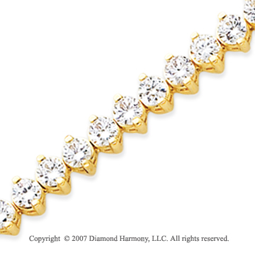 14k Yellow Gold 2 Prong 10.00 Carat Diamond Tennis Bracelet