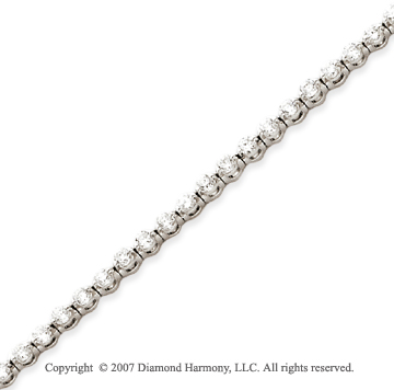 14k White Gold Round 2.75 Carat Diamond Tennis Bracelet