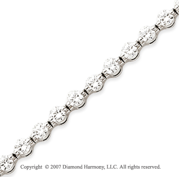14k White Gold Round 4.30 Carat Diamond Tennis Bracelet