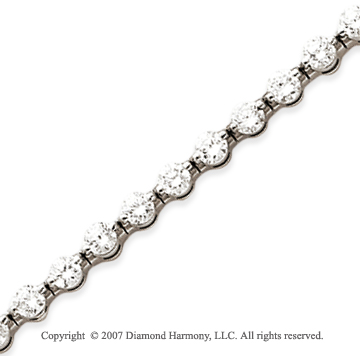 14k White Gold Round 5.95 Carat Diamond Tennis Bracelet
