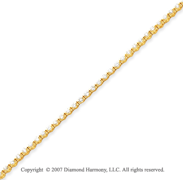 14k Yellow Gold Round 2.00 Carat Diamond Tennis Bracelet