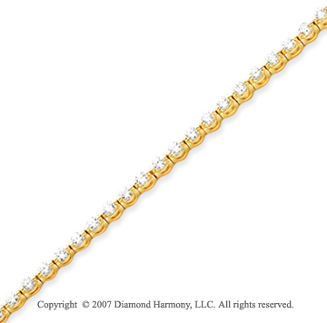 14k Yellow Gold Round 2.75 Carat Diamond Tennis Bracelet