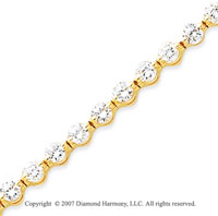 14k Yellow Gold Round 4.30 Carat Diamond Tennis Bracelet