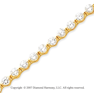14k Yellow Gold Round 5.95 Carat Diamond Tennis Bracelet