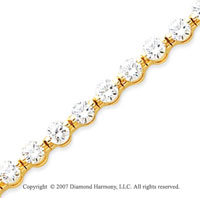 14k Yellow Gold Round 7.20 Carat Diamond Tennis Bracelet