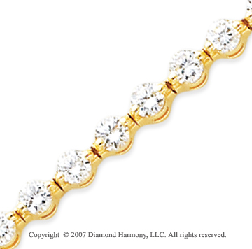 14k Yellow Gold Round 7.75 Carat Diamond Tennis Bracelet