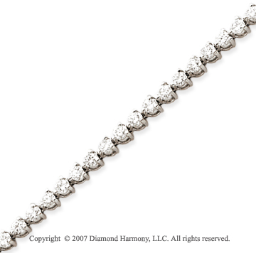 14k White Gold 3 Prong 4.25 Carat Diamond Tennis Bracelet