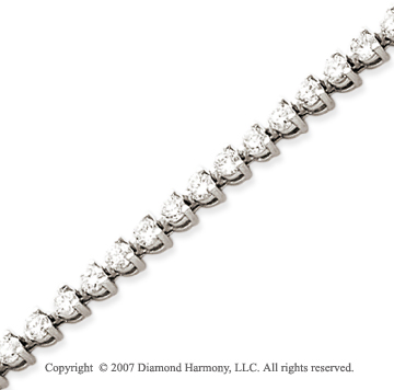 14k White Gold 3 Prong 5.00 Carat Diamond Tennis Bracelet