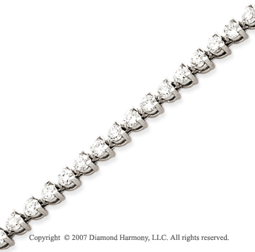 14k White Gold 3 Prong 6.15 Carat Diamond Tennis Bracelet