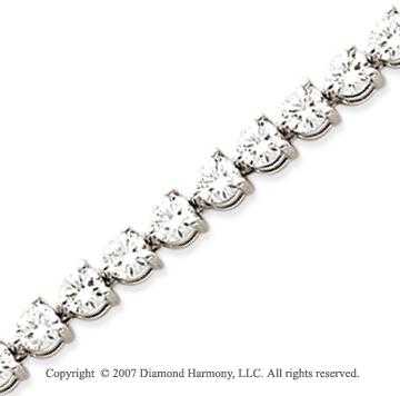14k White Gold 3 Prong 8.80 Carat Diamond Tennis Bracelet