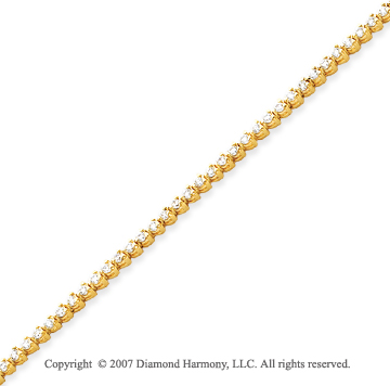 14k Yellow Gold 3 Prong 2.35 Carat Diamond Tennis Bracelet