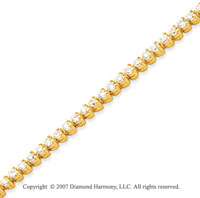 14k Yellow Gold 3 Prong 2.80 Carat Diamond Tennis Bracelet