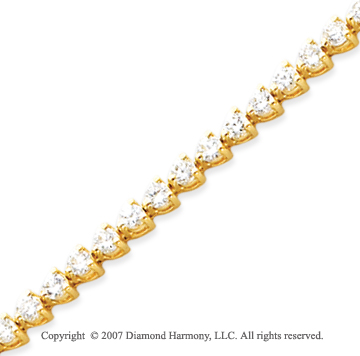 14k Yellow Gold 3 Prong 4.25 Carat Diamond Tennis Bracelet