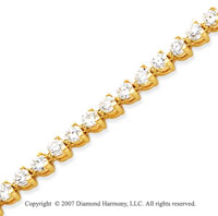 14k Yellow Gold 3 Prong 5.00 Carat Diamond Tennis Bracelet