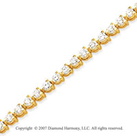 14k Yellow Gold 3 Prong 6.15 Carat Diamond Tennis Bracelet