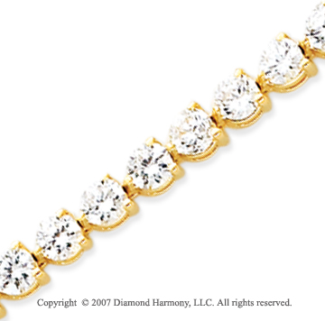 14k Yellow Gold 3 Prong 10.85 Carat Diamond Tennis Bracelet