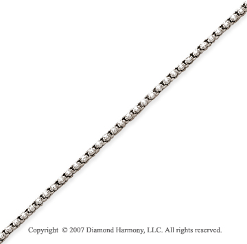 14k White Gold Duo Link 1.95 Carat Diamond Tennis Bracelet